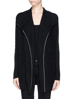 VINCELeather trim wool cashmere open cardigan