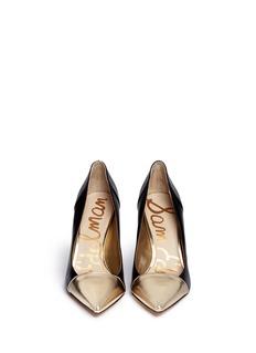 SAM EDELMAN'Desiree' metallic toe cap leather pumps