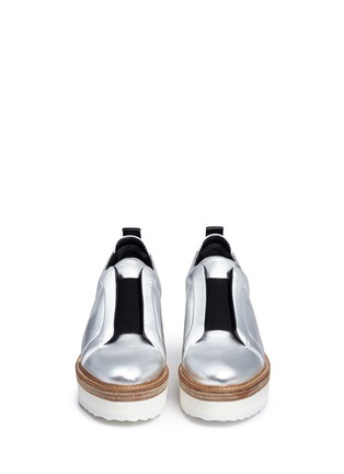 Front View - Click To Enlarge - Pierre Hardy - 'Mega Slider' elastic band metallic leather wedge sneakers