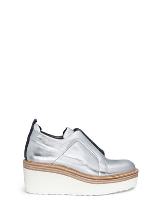 Main View - Click To Enlarge - Pierre Hardy - 'Mega Slider' elastic band metallic leather wedge sneakers