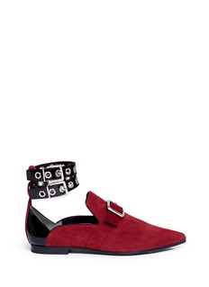 self-portrait x Robert Clergerie 'Lolli' eyelet ankle strap suede loafers