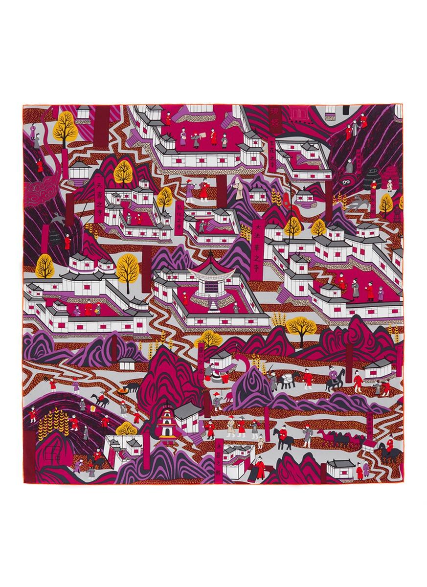 Wutai Mountain painting print silk scarf by SHANG XIA