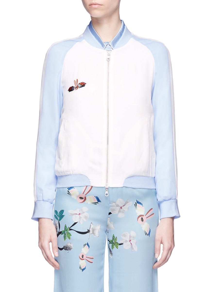 Bunny floral embroidered bomber jacket by HELEN LEE