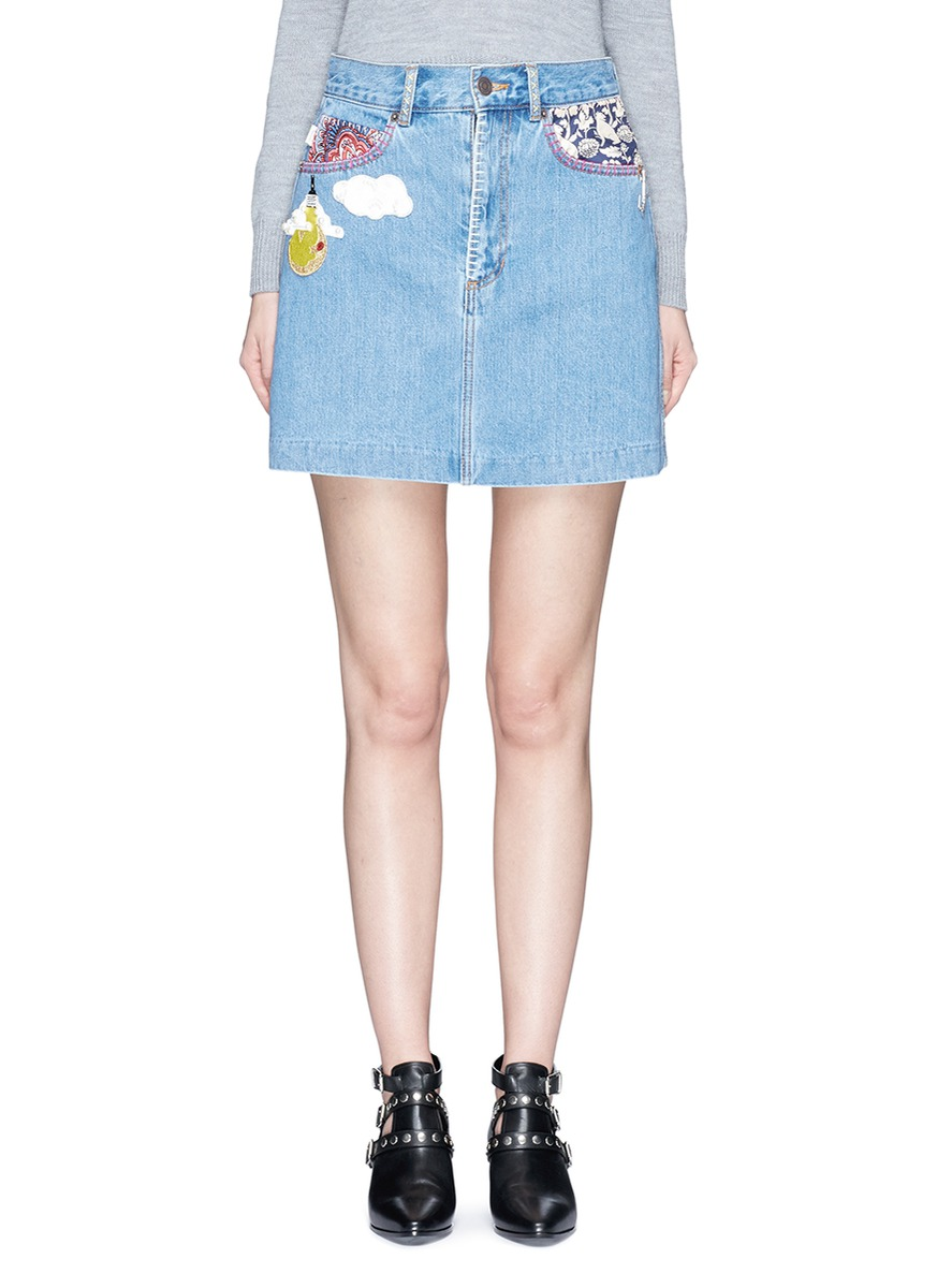 marc jacobs female mixed patch denim skirt