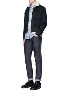 TopmanDetachable faux shearling collar denim jacket