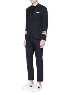 Neil Barrett Stripe cuff slim fit tuxedo blazer