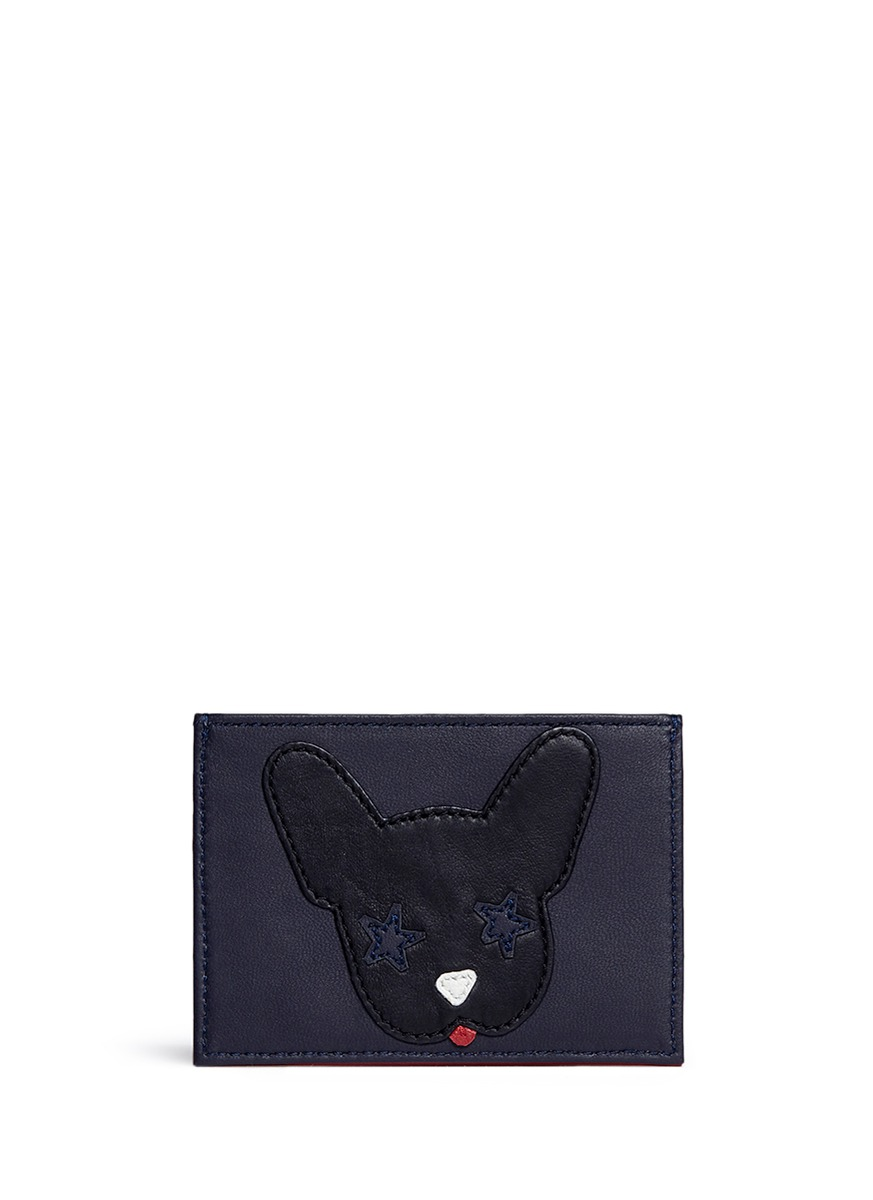 Dog Face leather card holder by Etre Cecile
