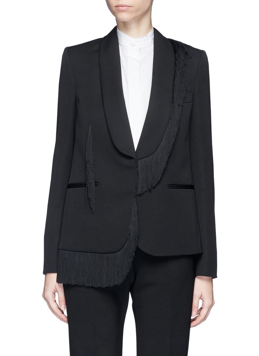 Floraine fringe tuxedo wool jacket by Stella McCartney