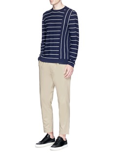 COVERT Contrast stripe Merino wool blend sweater