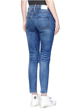 Back View - Click To Enlarge - Tortoise - 'Shiko' ripped knee cropped skinny jeans