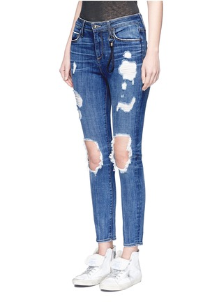 Front View - Click To Enlarge - Tortoise - 'Shiko' ripped knee cropped skinny jeans