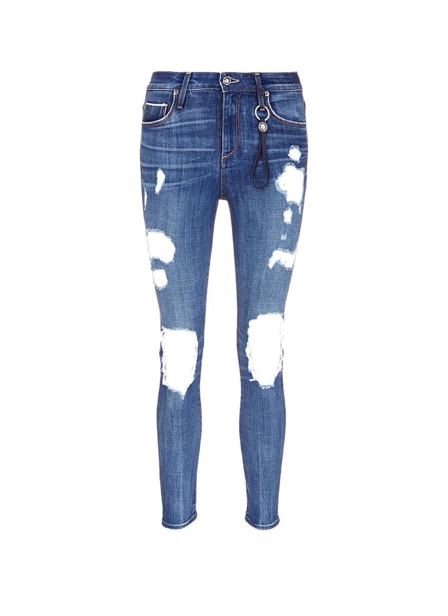 Shiko ripped knee cropped skinny jeans by Tortoise