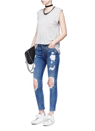 Figure View - Click To Enlarge - Tortoise - 'Shiko' ripped knee cropped skinny jeans