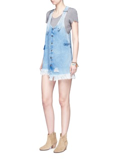 Tortoise Staggered hem denim pinafore dress