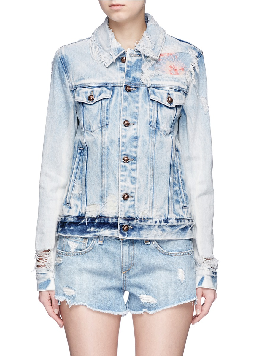 Steppe floral embroidered distressed denim jacket by Tortoise