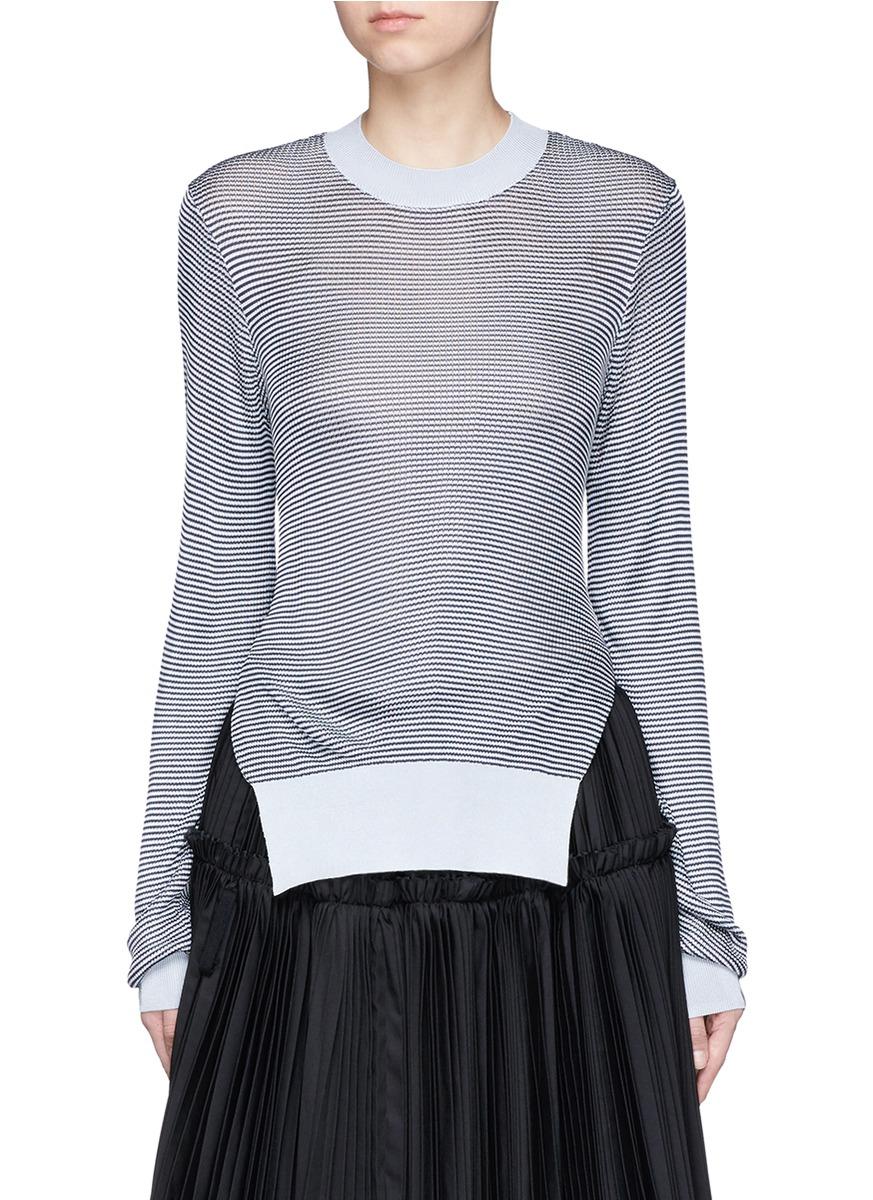 Stripe cutout back sweater by Jourden