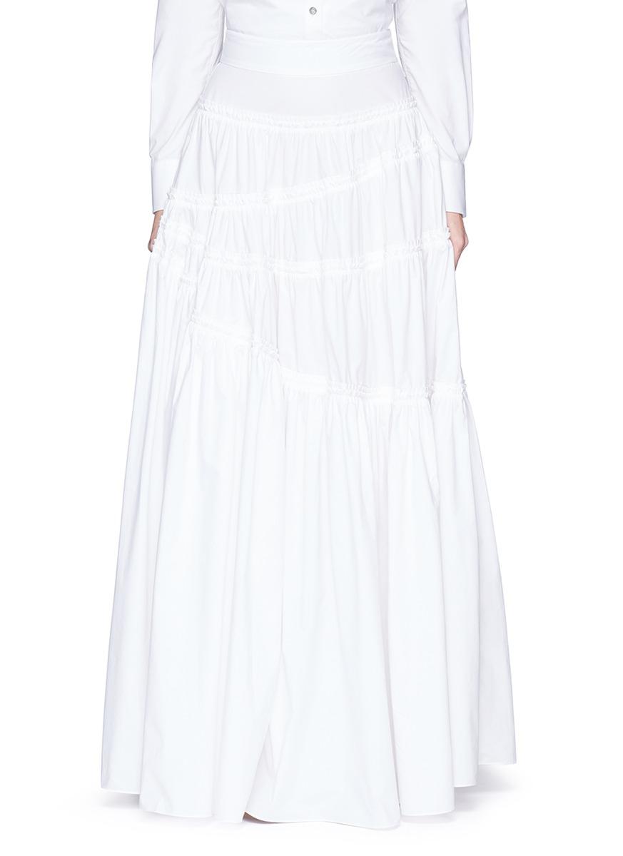 Asymmetric gathered poplin maxi skirt by Jourden