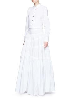 JourdenAsymmetric gathered poplin maxi skirt