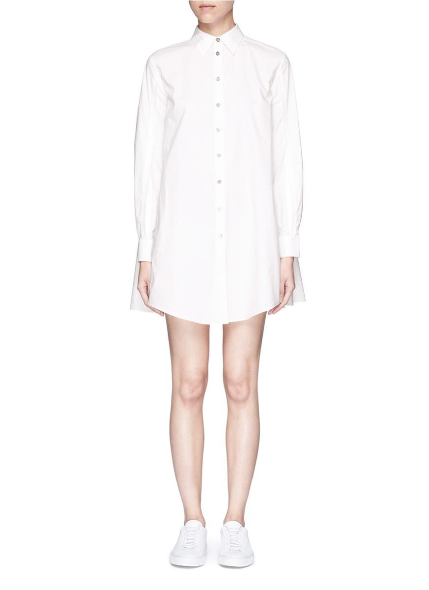 Tiered back cutout sleeve cotton shirt dress by Jourden