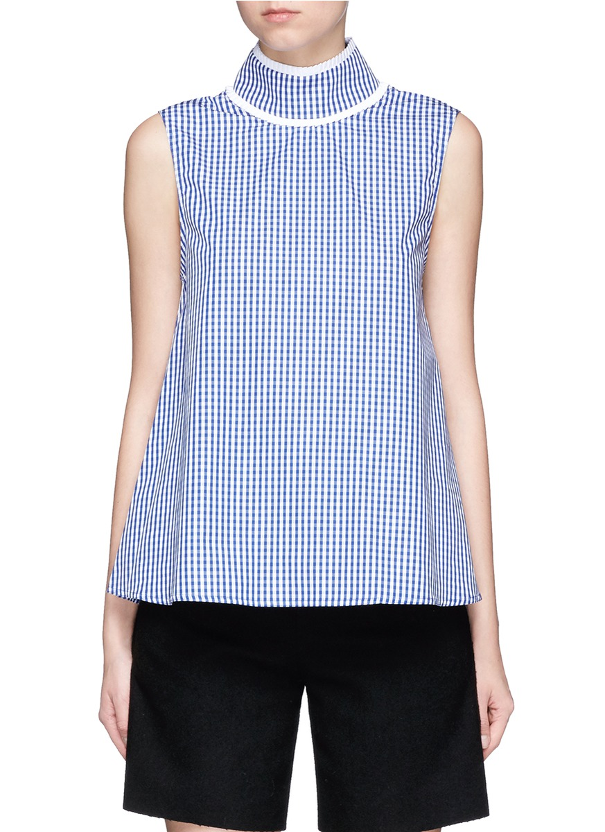 Gingham check pleated collar sleeveless top by Jourden