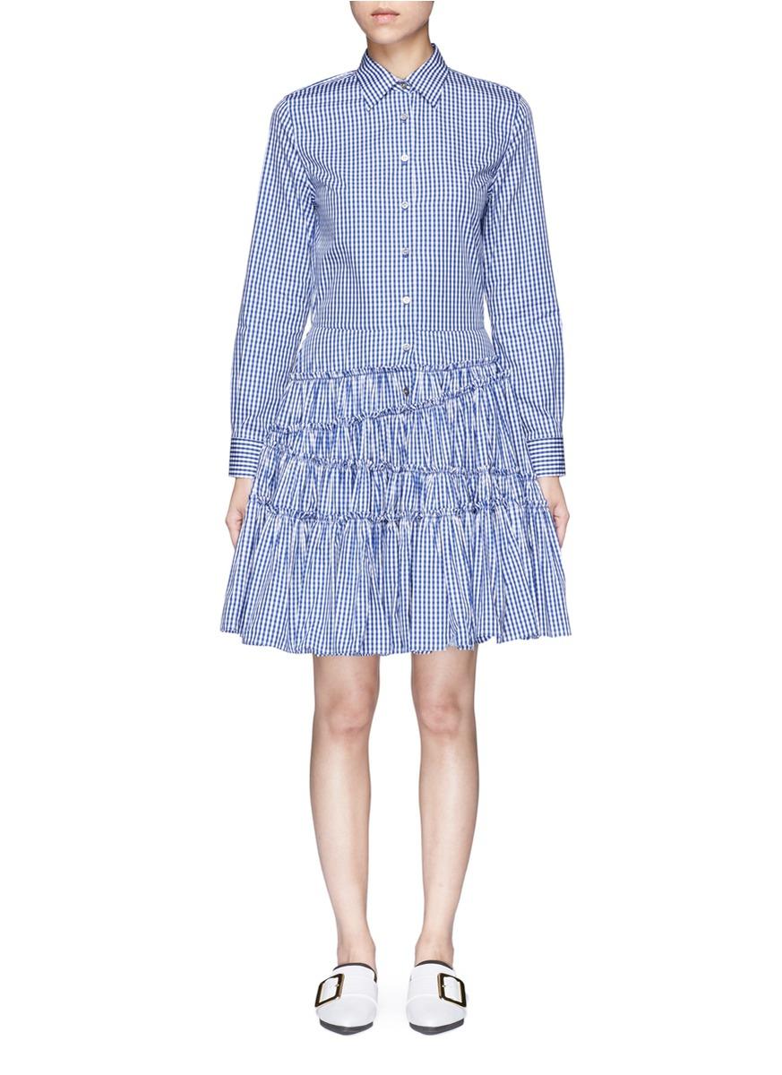 Gingham check asymmetric tiered shirt dress by Jourden
