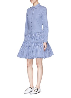 Jourden Gingham check asymmetric tiered shirt dress