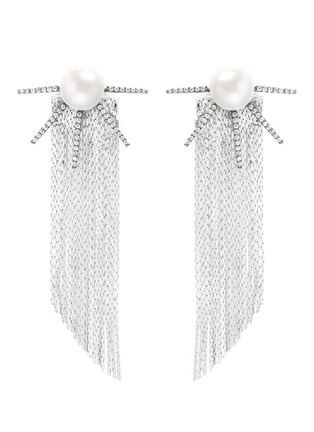 Main View - Click To Enlarge - Venna - Strass pavé pearl star fringe drop earrings