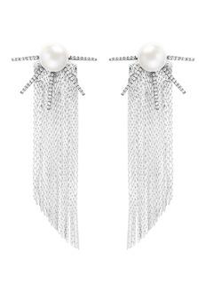 VennaStrass pavé pearl star fringe drop earrings