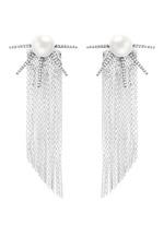 Strass pavé pearl star fringe drop earrings