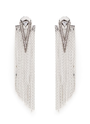 Main View - Click To Enlarge - Venna - Strass pavé triangle fringe drop earrings