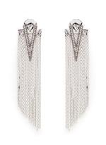 Strass pavé triangle fringe drop earrings