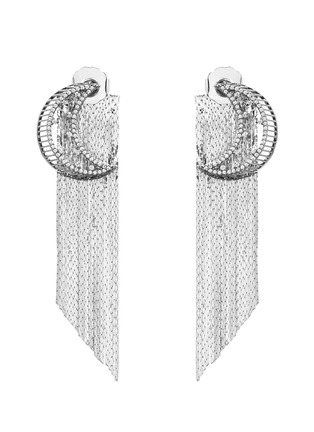 Main View - Click To Enlarge - Venna - Strass pavé moon fringe drop earrings