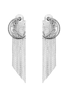 Venna Strass pavé moon fringe drop earrings