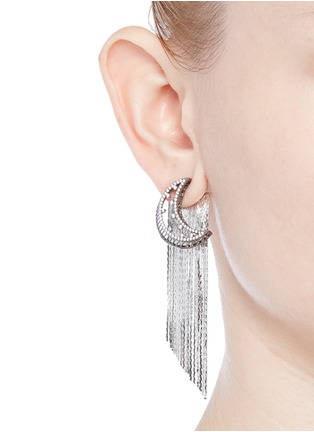 Figure View - Click To Enlarge - Venna - Strass pavé moon fringe drop earrings