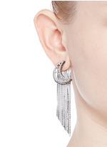 Strass pavé moon fringe drop earrings