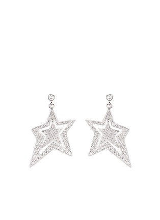 Detail View - Click To Enlarge - Venna - Strass pavé star faux pearl drop earrings