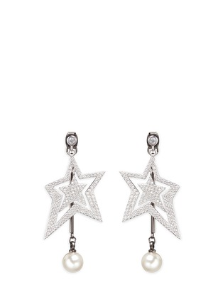 Main View - Click To Enlarge - Venna - Strass pavé star faux pearl drop earrings
