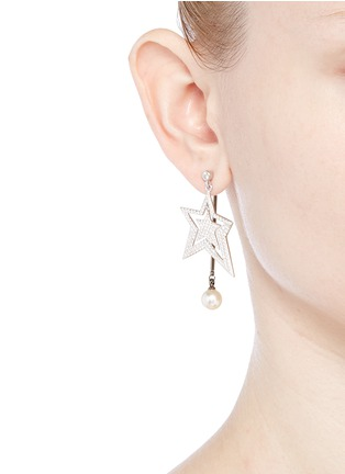 Figure View - Click To Enlarge - Venna - Strass pavé star faux pearl drop earrings