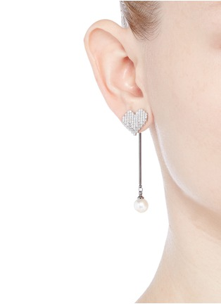 Venna - Strass pavé heart pearl drop earrings