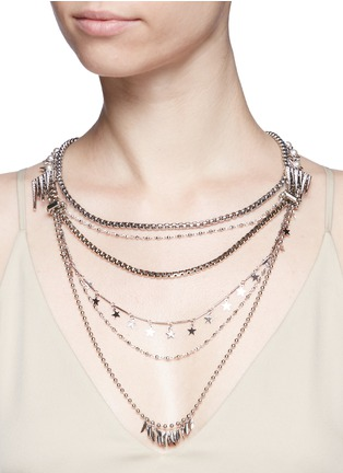 Figure View - Click To Enlarge - Venna - Pearl star fringe mix chain necklace