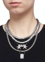 'Love' zircon pavé pendant mix chain necklace