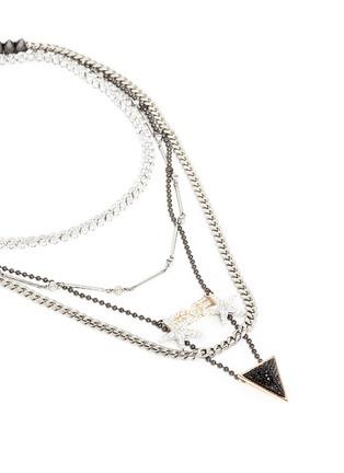 Detail View - Click To Enlarge - Venna - 'Love' zircon pavé arrow pendant mix chain necklace