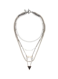 Venna 'Love' zircon pavé arrow pendant mix chain necklace