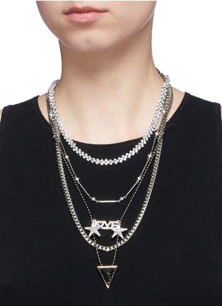 Venna-'Love' zircon pavé arrow pendant mix chain necklace