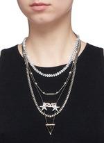'Love' zircon pavé arrow pendant mix chain necklace