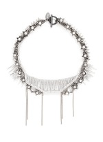 Pearl star spike strass pavé fringe necklace