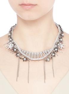 VennaPearl star spike strass pavé fringe necklace