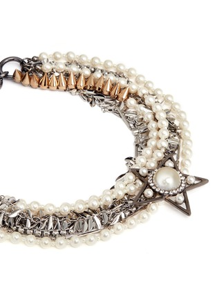 Detail View - Click To Enlarge - Venna - Strass pearl star charm mix chain necklace