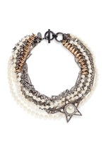 Strass pearl star charm mix chain necklace