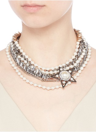 Figure View - Click To Enlarge - Venna - Strass pearl star charm mix chain necklace